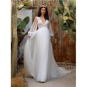 Cute women clothes mesh lace V-neck sexy backless wedding dress long skirt