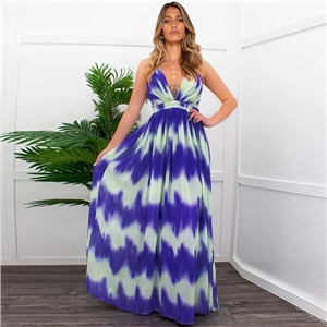 Sexy plus size dresses stripe print dress summer beach V-neck suspender long skirt
