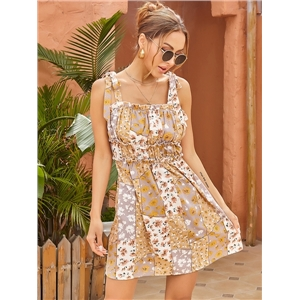 Cute summer clothes sling tube top chiffon print short skirt pleated waist dress