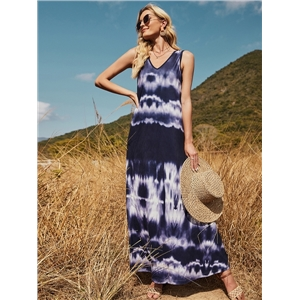 Women's summer clothes fresh and sweet V-neck sapphire blue printing and dyeing sleeveless dress