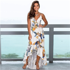 Summer sexy women's clothes Slim ruffled floral print suspender dress