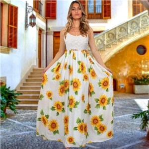 Plus size summer dresses lace sling floral bohemian long dress