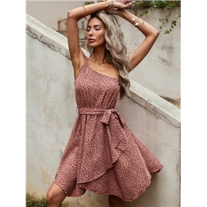 Women's summer dresses cute simple belt oblique shoulder leopard print dress