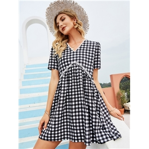 Cute summer clothes fresh and sweet V-neck a-shaped black and white plaid dress