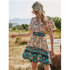 Cute women dresses high-waisted V-neck short-sleeved a-line boho print dress
