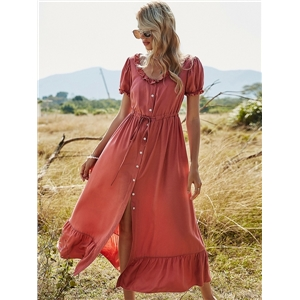 Women's spring clothes single-breasted round neck solid color high waist long dress