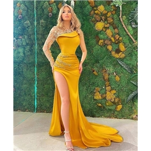 Sexy women's clothes lace long-sleeved slim-fit banquet evening dress