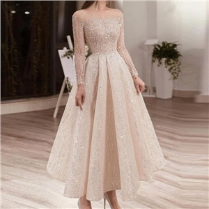 Women's clothing for summer round neck long sleeve sequined slim mid-length dress