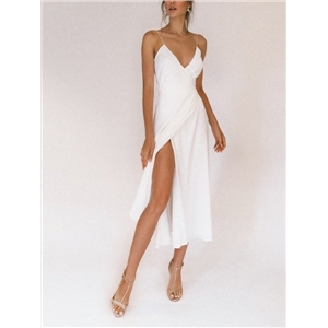 Spring and summer sexy women's clothes white sling split prom party dress
