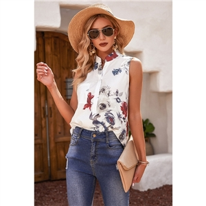 Cute summer clothes sleeveless printed stand-up collar slim top
