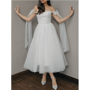 Spring and summer women's pure white lace-up tube top net gauze big swing dress