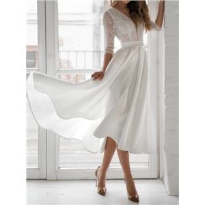 Summer clothes pure white long-sleeved V-neck halter dress with big hem