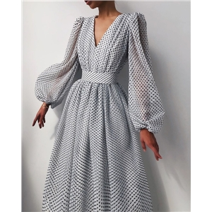 Spring and summer women's clothing dresses temperament puff sleeve polka dot big hem dress