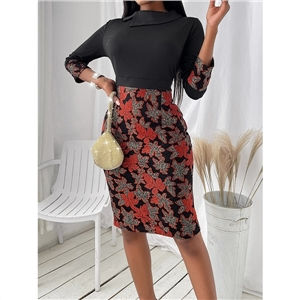 Spring and summer sexy dresses for women long sleeve round neck print bag hip dress