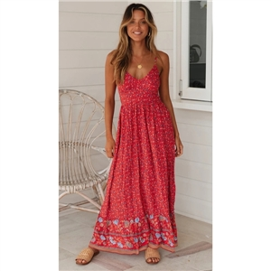 Women's clothing for summer Bohemian V-neck cotton floral sling dress