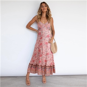 Women's clothing for summer Bohemian sling floral dress