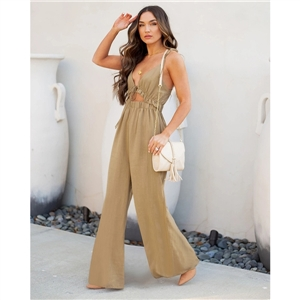Summer clothes casual solid color sleeveless wide-leg pants jumpsuit