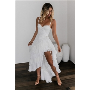 Summer clothes lace pure white sexy wrapped chest irregular dress long skirt