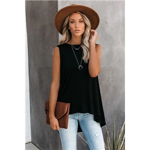 Women's clothes round neck sleeveless irregular  solid color bottoming mid-length vest T-shirt top