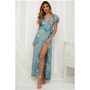 Women's clothing for summer leisure vacation printing sexy V-neck long skirt dress