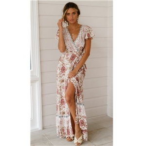 Women's clothing for summer leisure holiday floral sexy V-neck long skirt dress