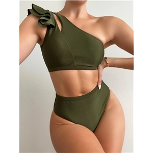 High waisted bikini one-shoulder ruffled sexy solid color swimsuit