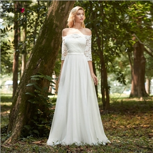Women's clothes one-shoulder long-sleeved lace trailing dress wedding dress
