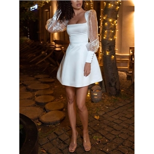 Sexy dresses for women see-through long-sleeved square-neck midi dress