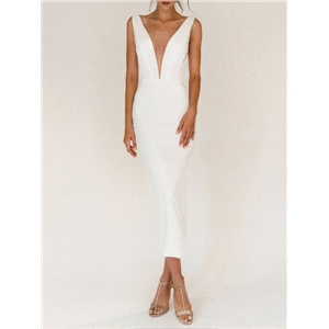 Sexy women's clothes suspender deep V backless dress