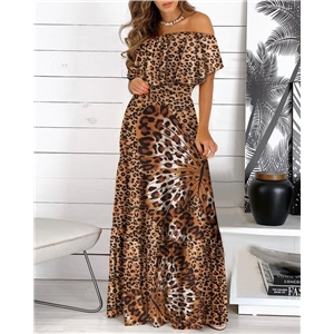 Summer clothes ruffled off-the-shoulder lace-up print dress