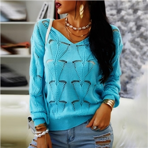Women's Knitwear Solid Color Hollow Loose V-neck Casual Sweater