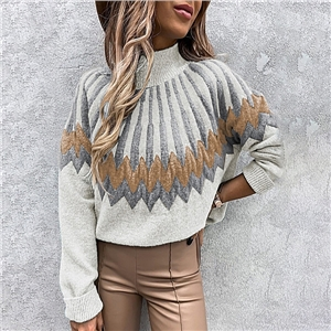 Women's Printed Turtleneck Long Sleeve Loose Casual Knit Sweater