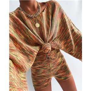 Women's Fashion Color Round Neck Long Sleeve Casual Knit Sweater Set