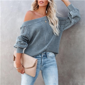 Women's Solid Color Loose V-neck Lantern Sleeve Long Sleeve Sweater