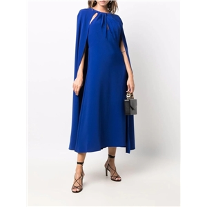 Women's personality cloak-style shawl solid color round neck pleated long loose-fitting dress
