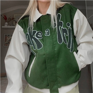 Women's lapel letter embroidery contrast color design zipper jacket with pockets