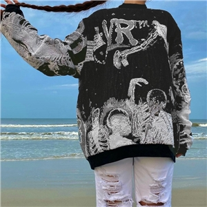 Women's fashion casual jacket abstract digital printing loose sweater can be worn outside