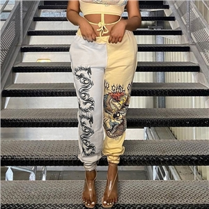 Women's fashion trend color matching printed sports casual pants elasticated beltless trousers