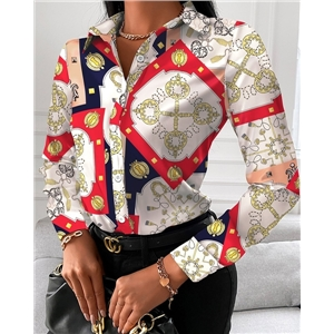 Ladies loose long sleeve V-neck button printed shirt
