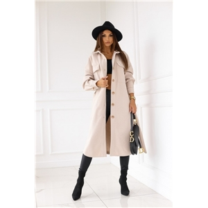 Women's long-sleeved buttoned stand-collar woolen solid color coat