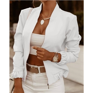 Women's Long Sleeve Small Jacket Zipper Decoration Solid Color Cardigan Jacket