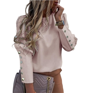 Women's Long Sleeve Round Neck Top with Metal Button