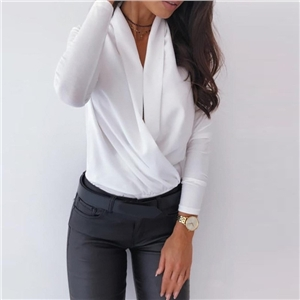Women's sexy long-sleeved deep V-neck solid color blouse shirt