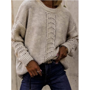 Women's solid color round neck long sleeve loose knit sweater