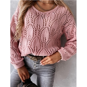 Women's Solid Color Round Neck Long Sleeve Hollow Loose Knitted Sweater