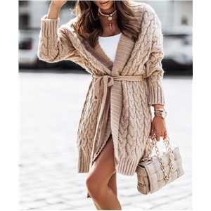 Women's mid-length sweater cable knit cardigan solid color sweater