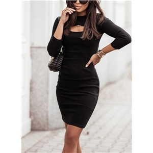 Women's sexy hollow knit solid color slim long-sleeved dress