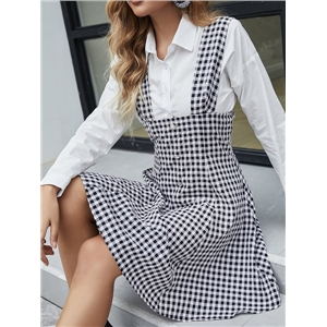 Women's waist plaid skirt single-breasted suspenders long-sleeved stitching dress