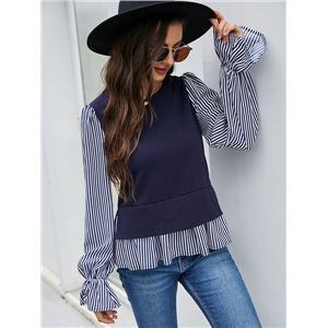 Women's blouse round neck loose long-sleeved flared sleeve striped stitching shirt