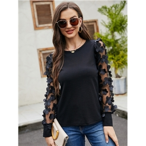 Women's black see-through long-sleeved t-shirt casual top